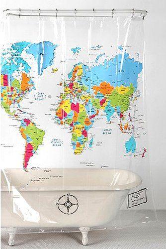 Amazon Com Home World Map Shower Curtain Fleamarket Style