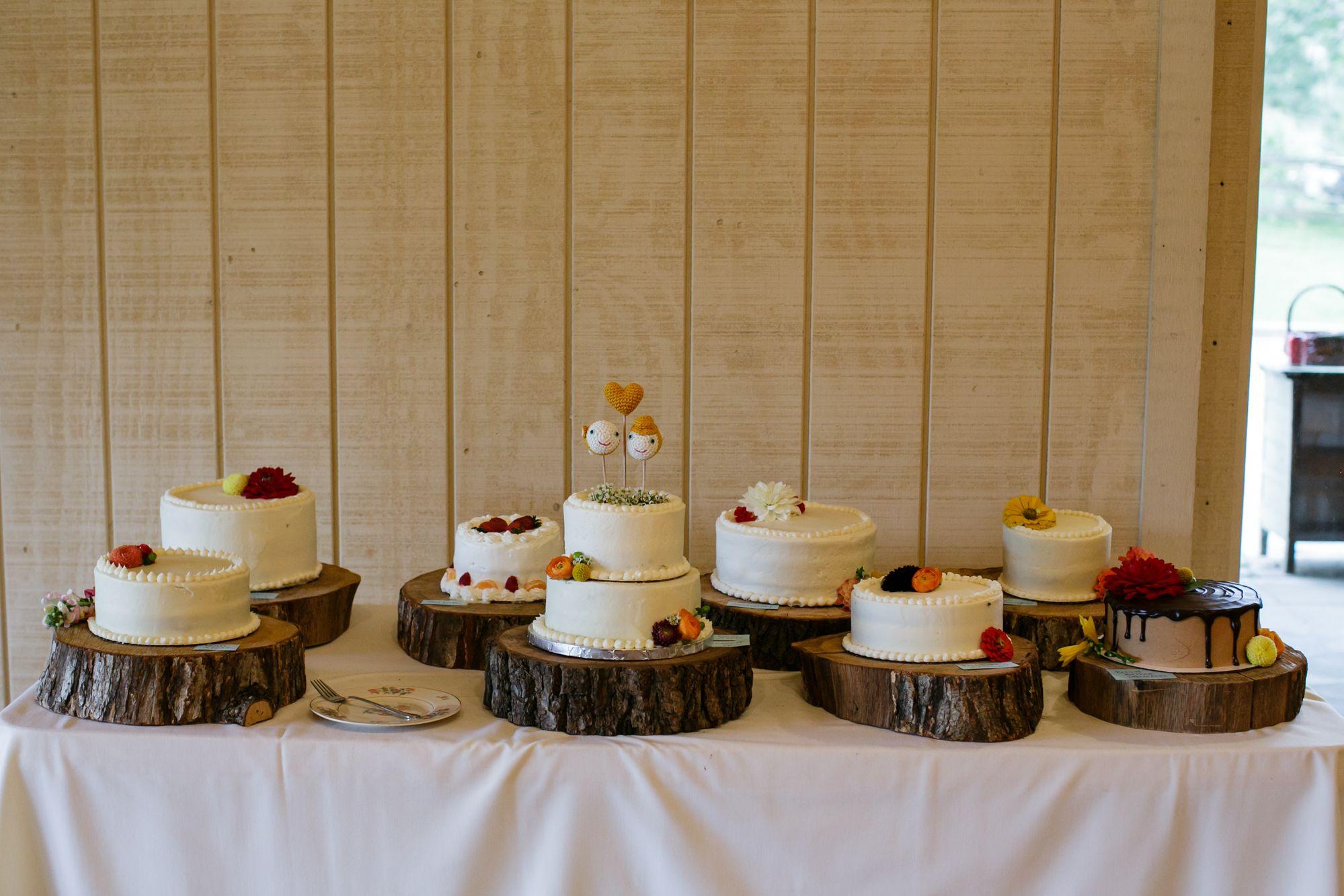 Variety of Wedding Cakes - Kiernan & Josh on Borrowed & Blue.  Photo Credit: Jen Yuson Photography