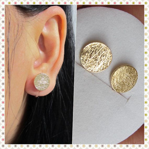Large Round Disc Circle Stud Clip On Earrings Non Pierced Gold Plate Brushed Faux Gauge Earring Magnetic Alternative