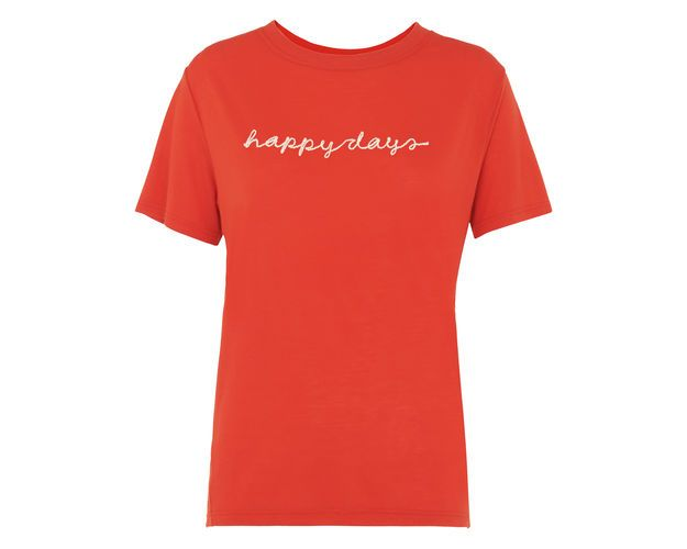 Happy Days Embroidered T-shirt, in Red on Whistles