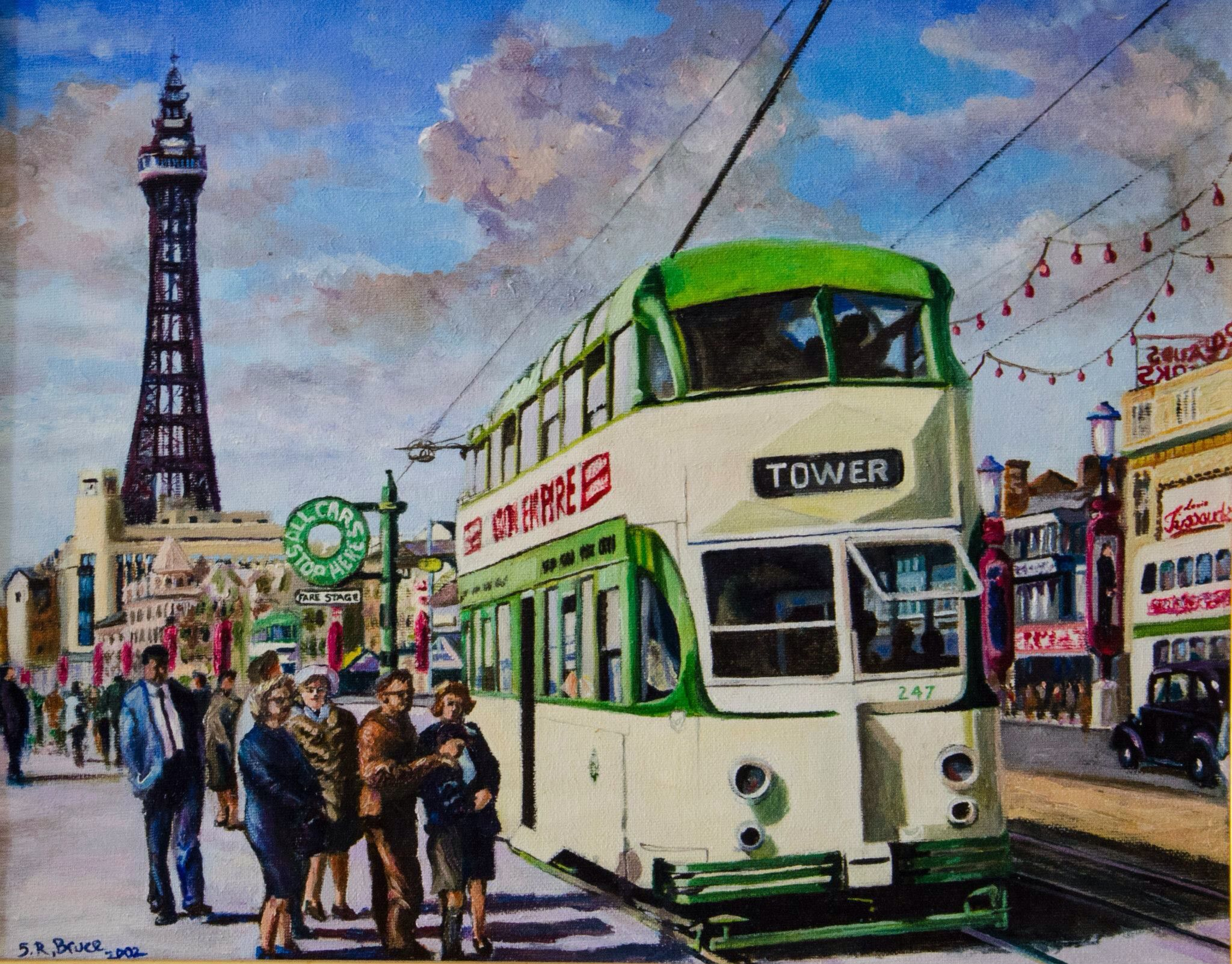 blackpool tram and tower 1963 by steven robert bruce oil on canvas