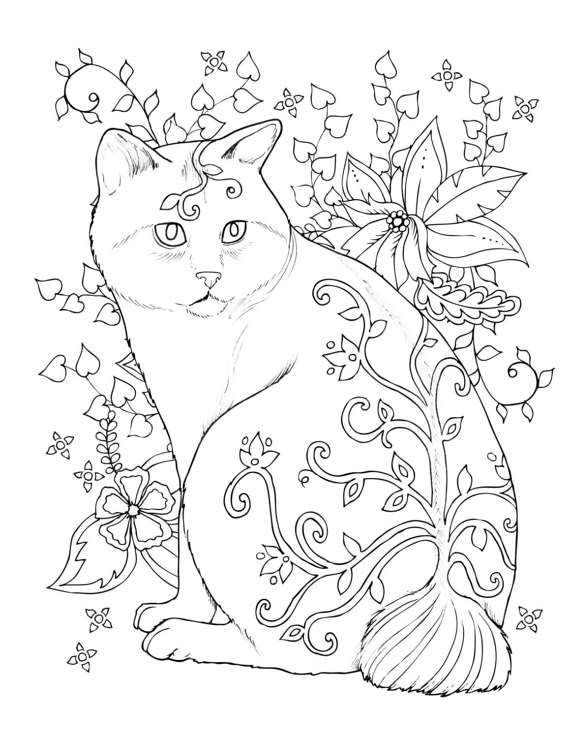 Cat Coloring Page Digital Download Pdf Jpg Love Cats This Is Part Of A Beautiful Cat Coloring Book By C Cat Coloring Page Cool Coloring Pages Coloring Pages