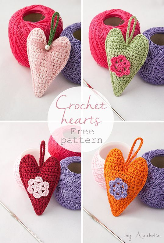 Crochet hearts free pattern for a friendly challenge (Anabelia Craft ...