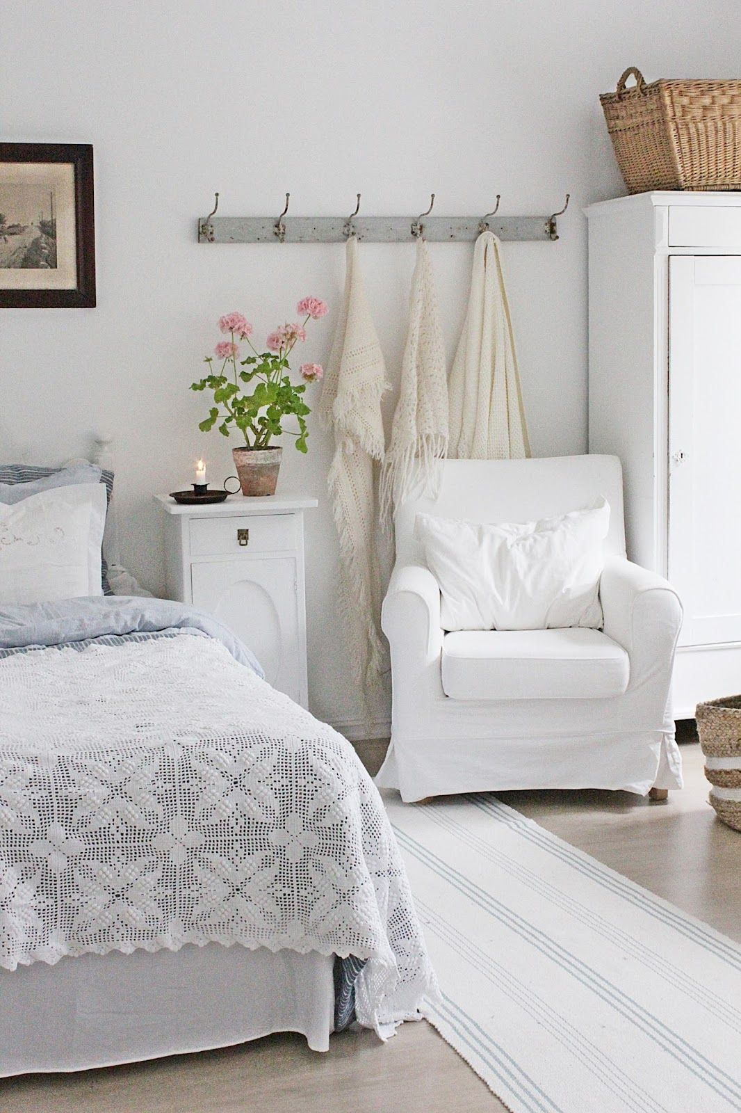 Master bedroom new design  VIBEKE DESIGN Gorgeous white on white farmhouse bedroom  Bedroom