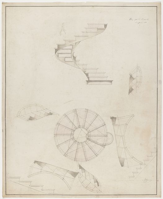 Drawing Perspective And Plan View Of A Spiral Staircase That Turns To The Left January 2 1883 Interior Design Drawings Drawings Spiral Staircase