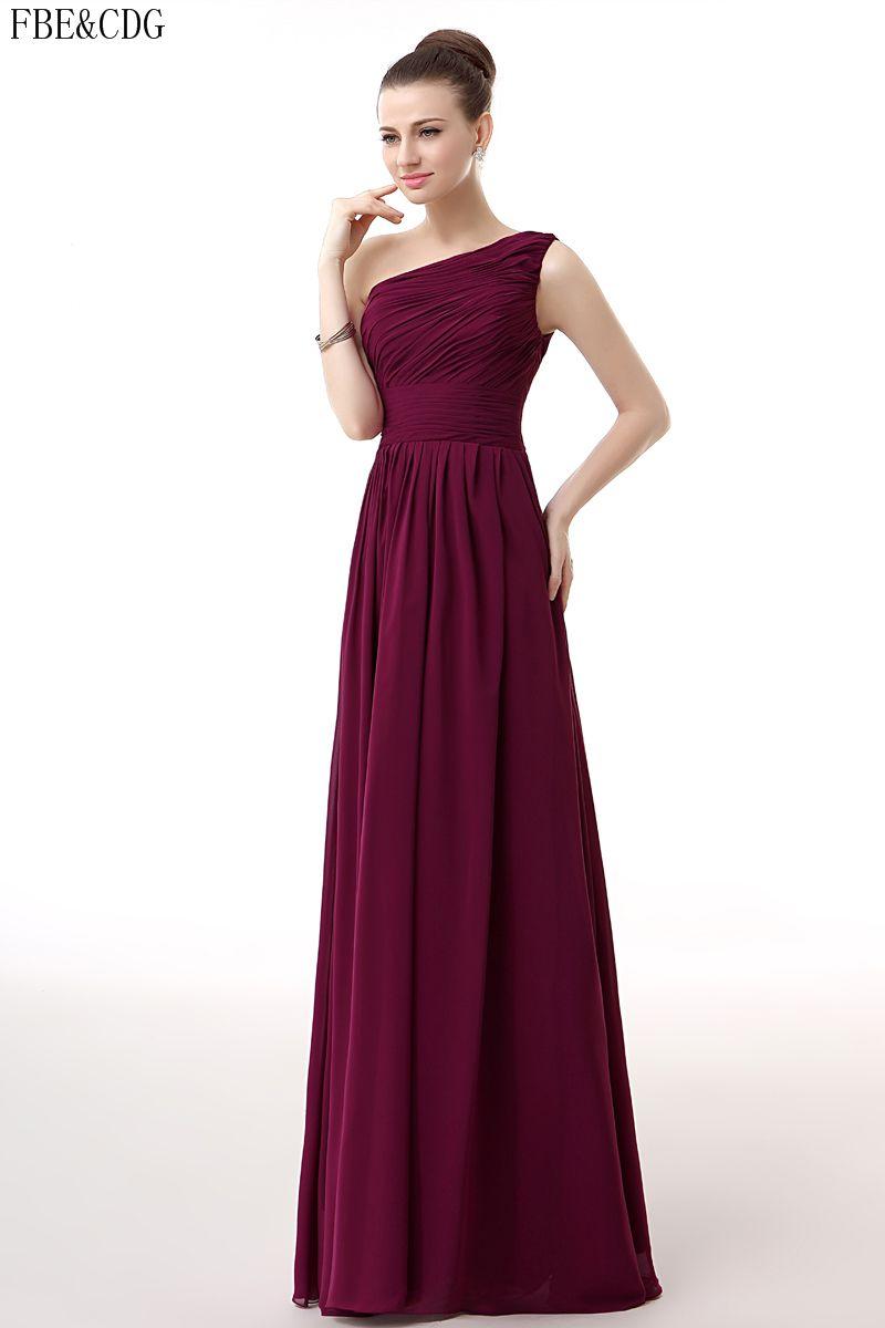 Burgundy bridesmaid dresses long zipper chiffon boho prom gown
