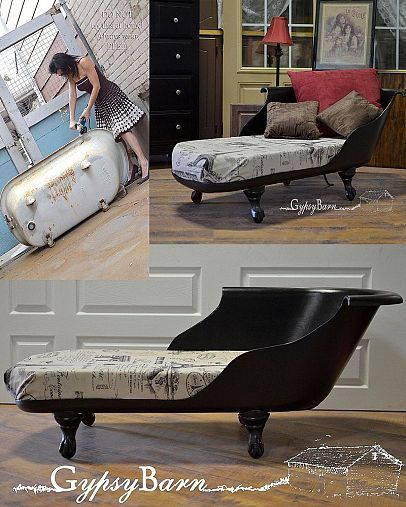 Rusty Dirty Clawfoot tub to Beautiful French Settee
