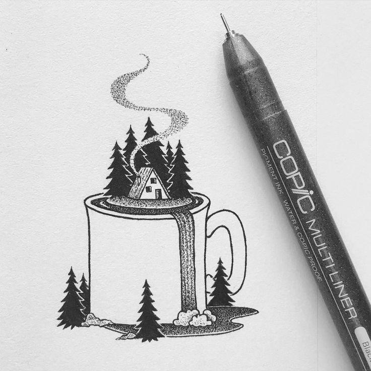 Cool Drawing Ideas: Pen Drawing By Peta Heffernan
