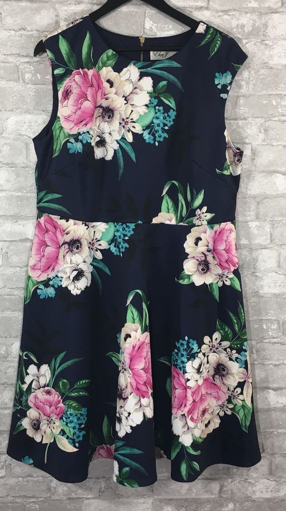 d08b6b4418ea eliza j Navy Pink Floral Print Dress Plus Size 14W | eBay | Buy Me ...