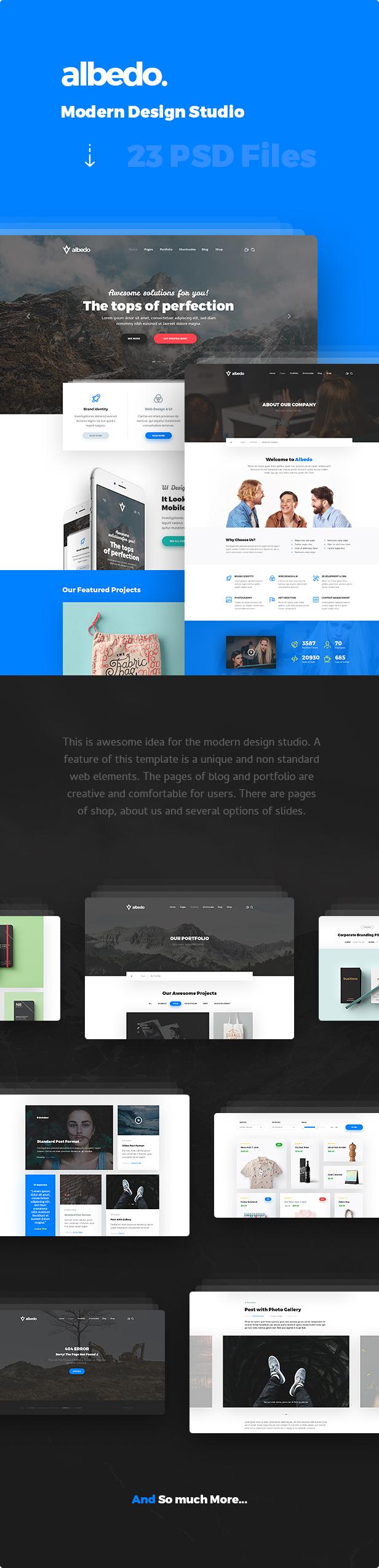 Albedo - Modern Design Studio PSD Template #design studio #material design #modern