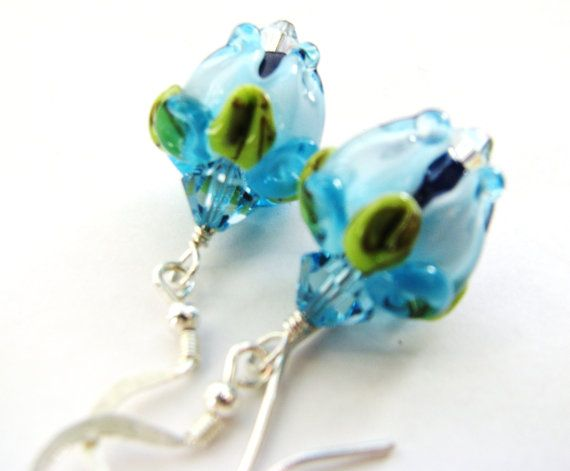 Blue Rose Bud Lampwork Earrings SRA Artisan by BelladonnasJoy, $35.00