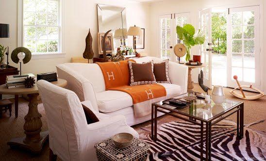 Orange Accent And Faux Zebra Rug By Martensen Jones Interiors