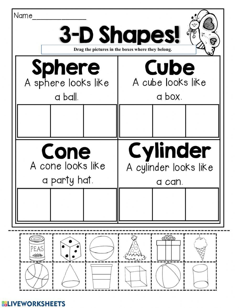 Solid shapes - Interactive worksheet   Shapes worksheets [ 1291 x 1000 Pixel ]