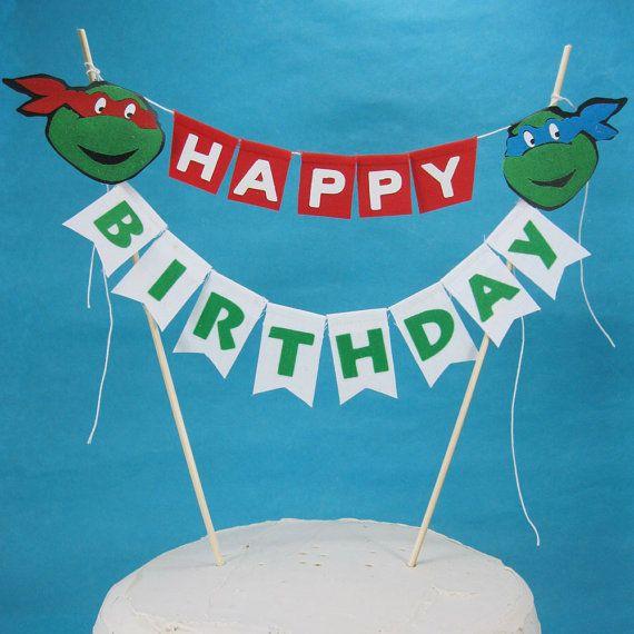 Cake Topper Happy Birthday Teenage Mutant Ninja Turtles Etsy Tmnt Birthday Turtle Party Teenage Mutant Ninja Turtles Party