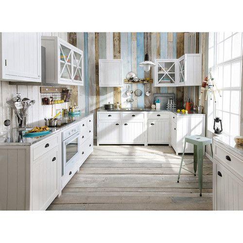 Küchenunterschrank aus Holz, B 120 cm, weiß | Camargue and Newport