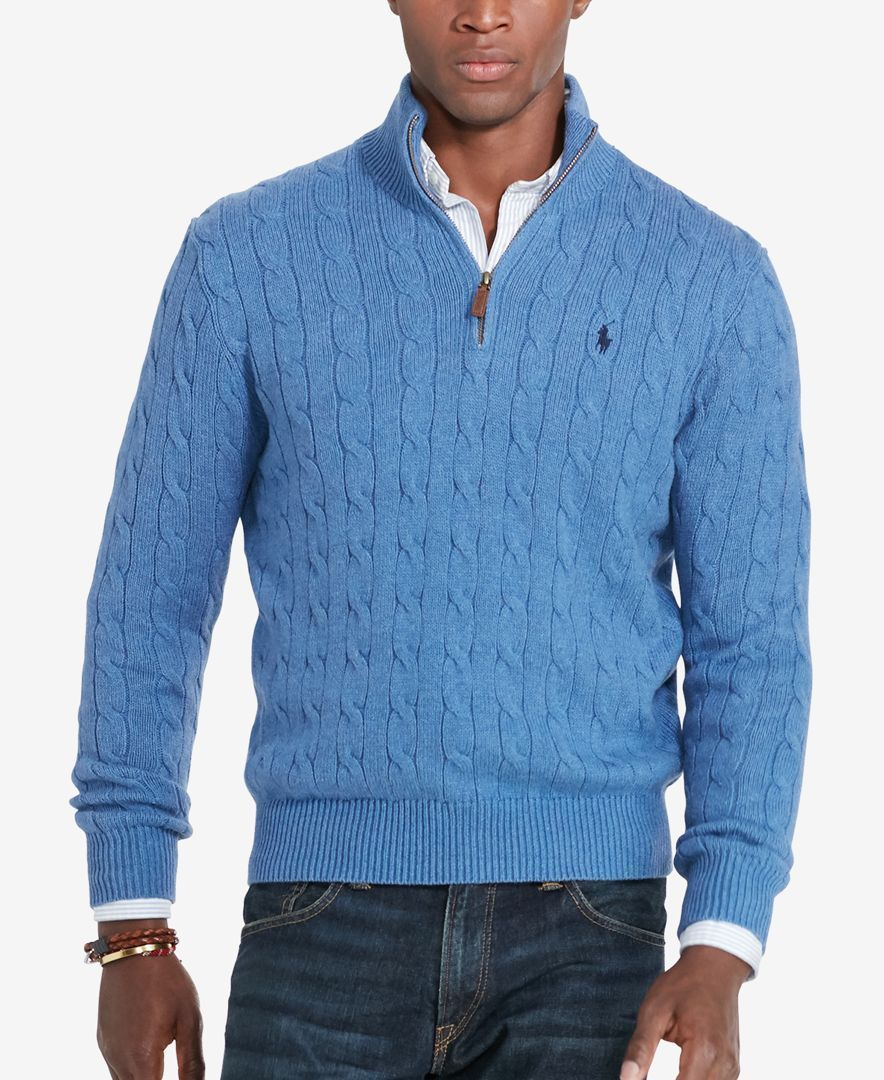 Polo Ralph Lauren Men's Cable-Knit Mock Neck Sweater | Cardigans ...