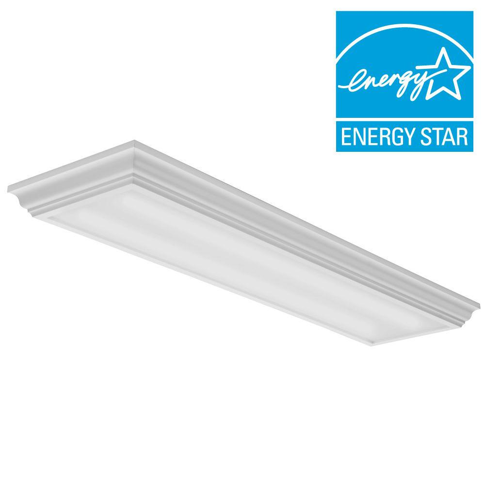 Lithonia Lighting Cambridge 4 Ft 35 Watt White Integrated Led Flushmount Fmfl 30840 Caml Wh Lithonia Lighting Lithonia Kitchen Lighting Fixtures Ceiling