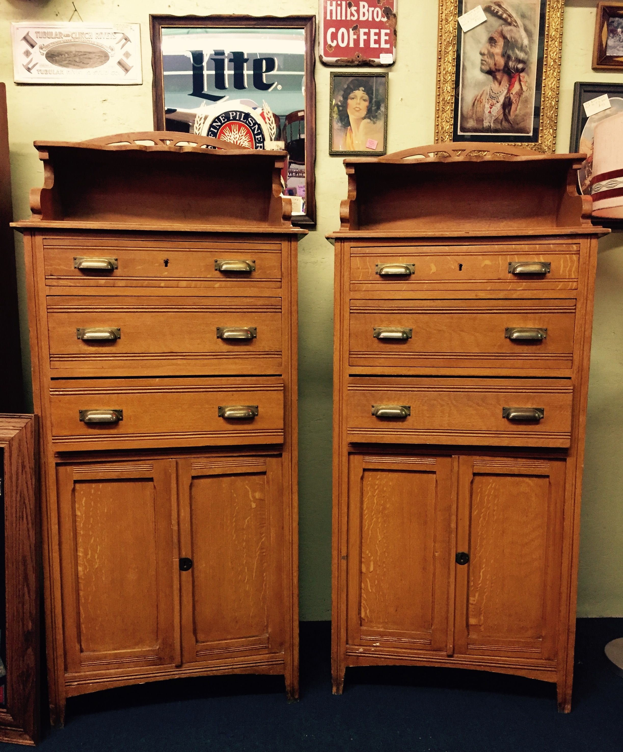 Pair Of Late 1800u0027s Barber Cabinets Faux Painted Oak, This Technique Was  Painted With A Feather.