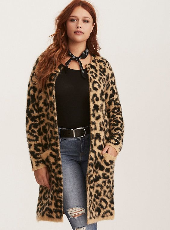 721f2271f7cd Torrid Insider Leopard Print Brushed Open Cardigan