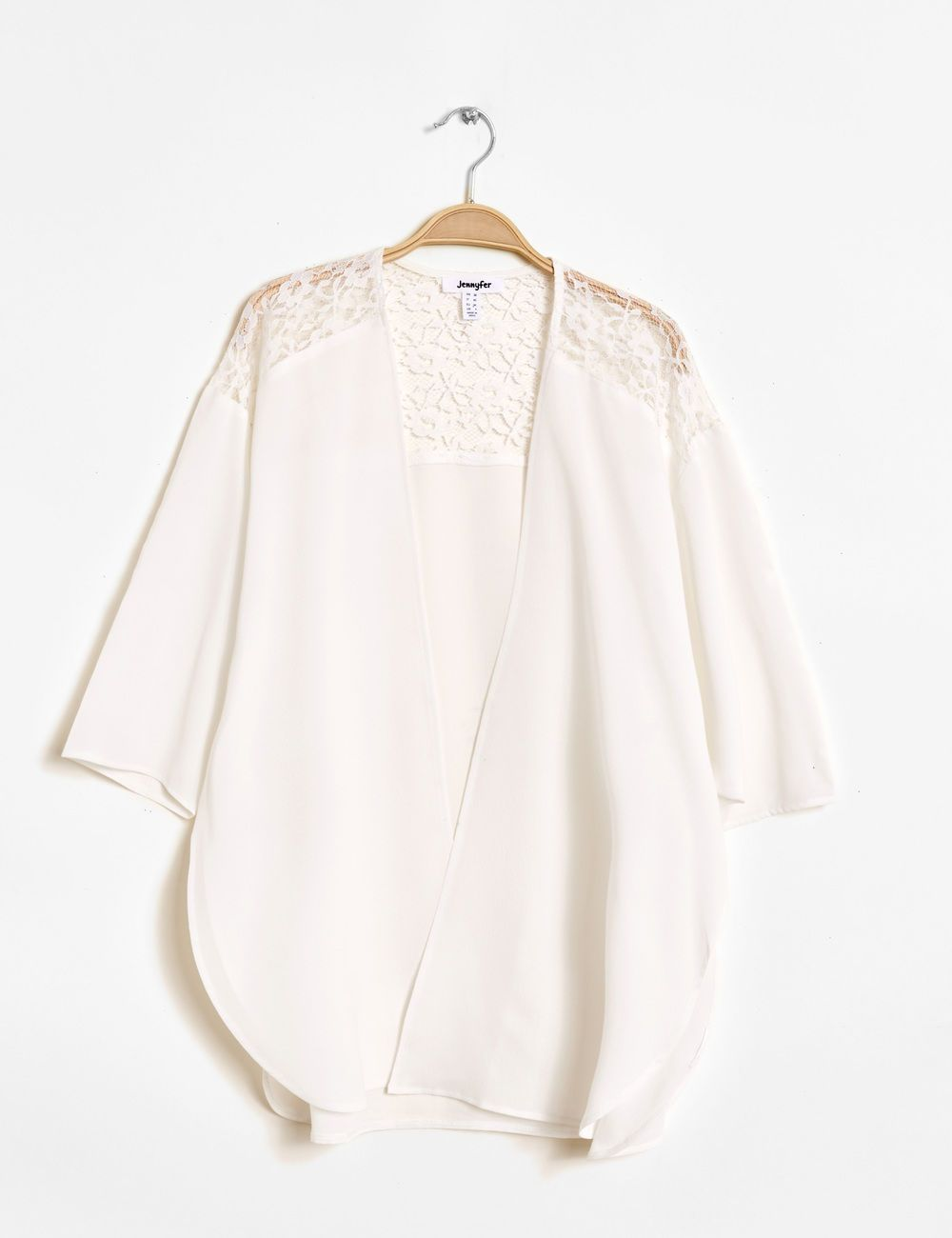 534f781e559 Kimono empiècement dentelle écru femme • Jennyfer