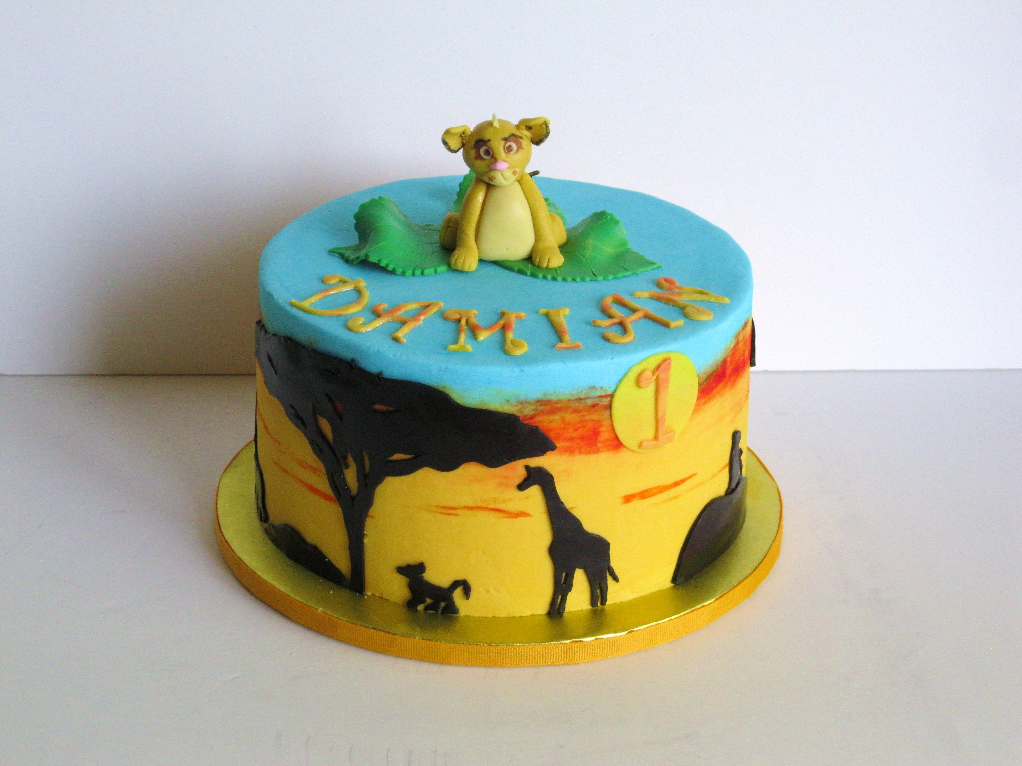 Lion King Simba Cake Covered In Buttercream With A Fondant Simba