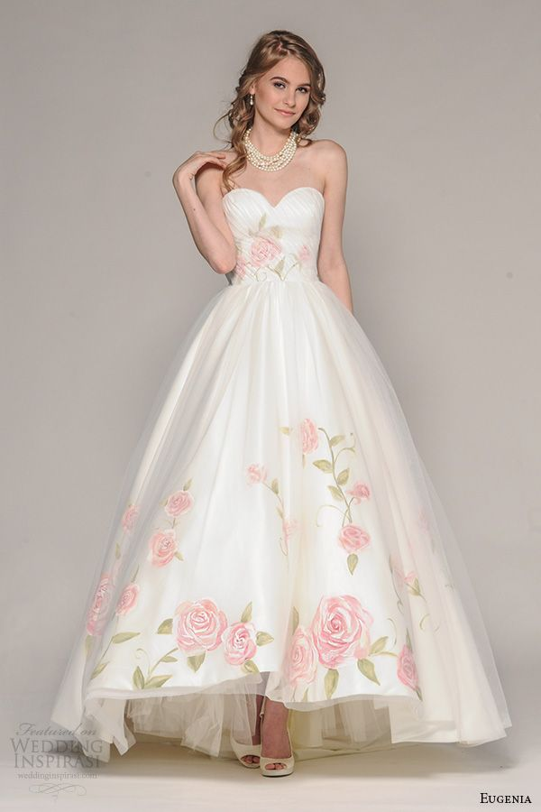 eugenia couture fall 2016 bridal strapless sweetheart neckline pretty hand  painted floral accent wedding ball gown dress style rosalia 83cd06e8def0