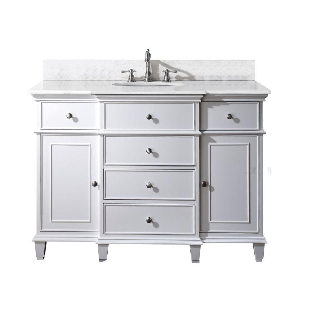 Windsor 49 Inch W 5 Drawer Freestanding Vanity In White With