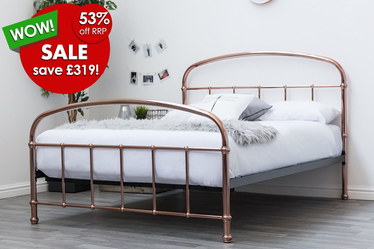 Lichfield Copper Victorian Hospital Style Metal Bed Frame Double King Size Metal Bed Frame Bed Frame Double Bed Frame Metal