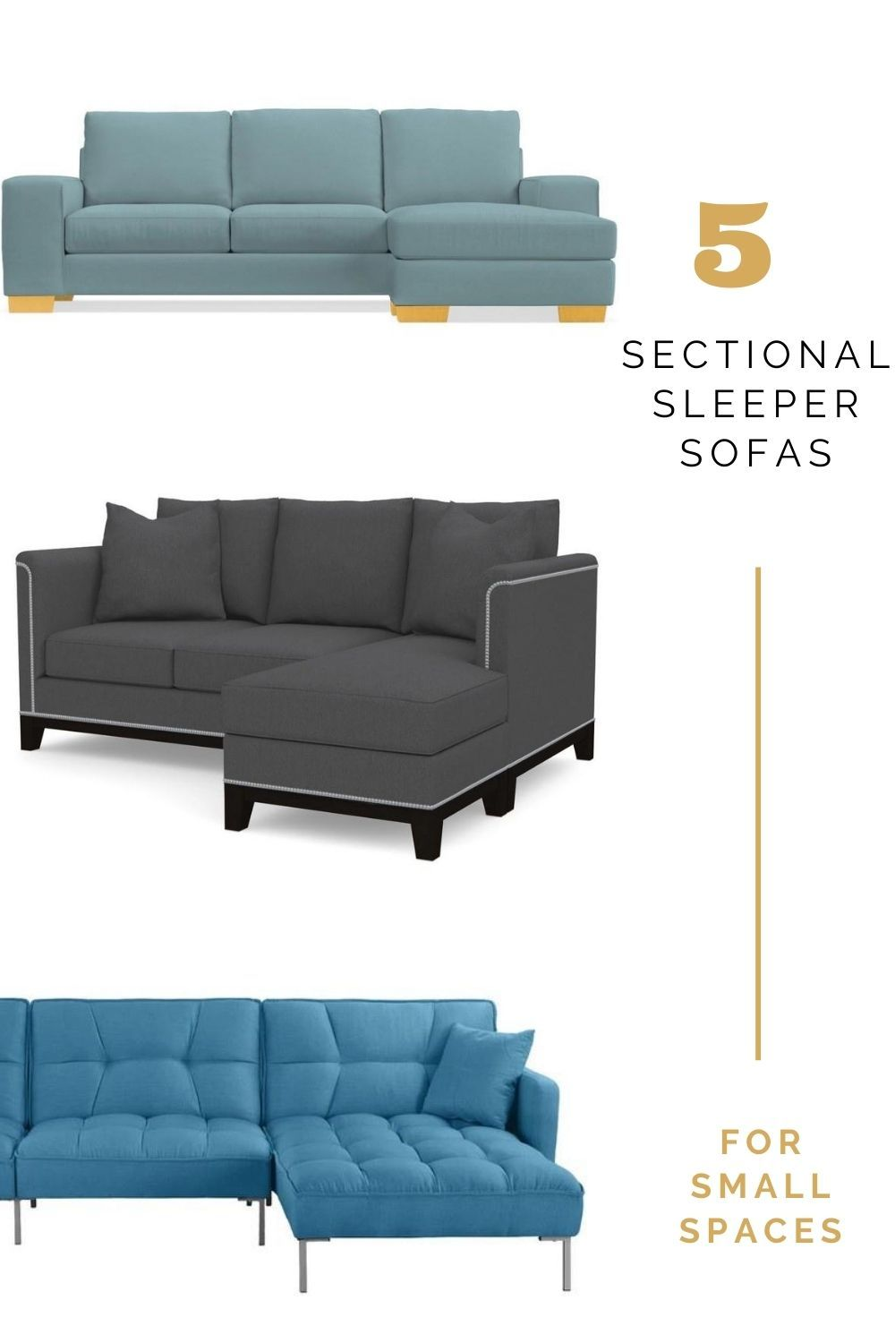 Small Sleeper Sectional Sofa For Small Spaces In 2020 Sectional Sleeper Sofa Sofas For Small Spaces Small Sofa Bed