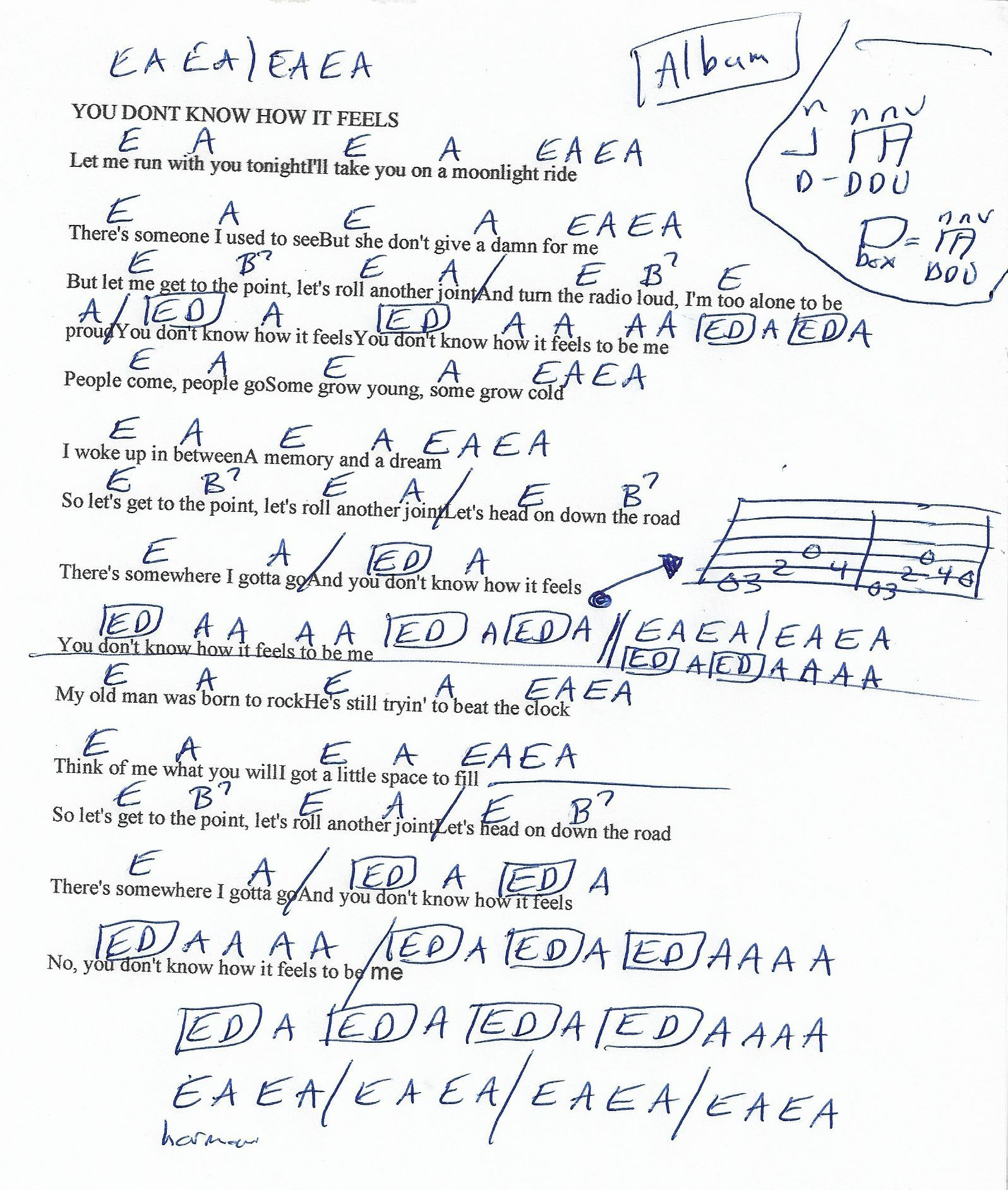 You dont know how it feels tom petty guitar chord chart sheet you dont know how it feels tom petty guitar chord chart hexwebz Images