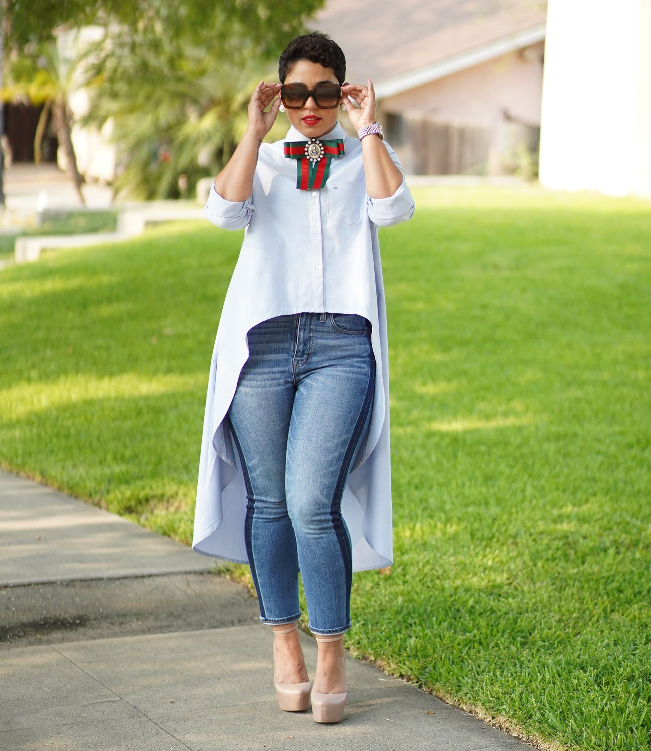 Diy High Low Button Up Shirt Using The Katie Pdf Mimi G Style Fashion Fashion Tops Chic Outfits