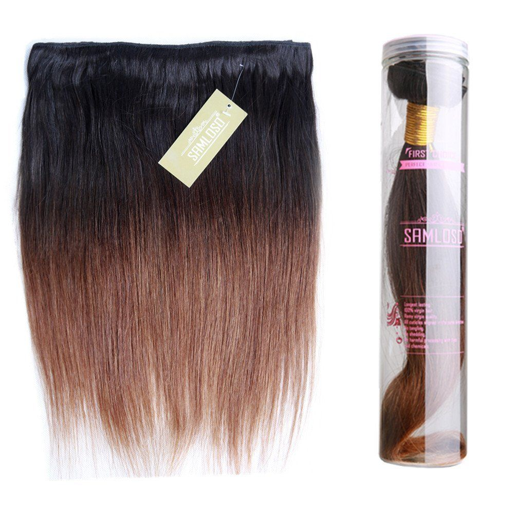 Two Tone Ombre Hair Silky Straight b Color Hair Weaving By