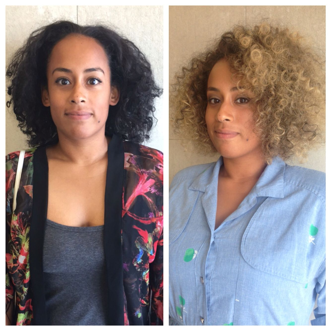 Before And After Haircut Hair Color Curly Blonde Curls Afro
