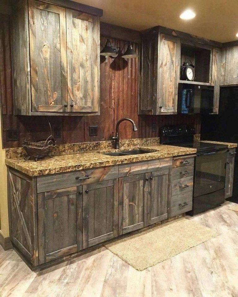 135 Lovely Western Style Kitchen Decorations Ideas Rustic Modern Kitchen Rustic Farmhouse Kitchen Rustic Kitchen Cabinets