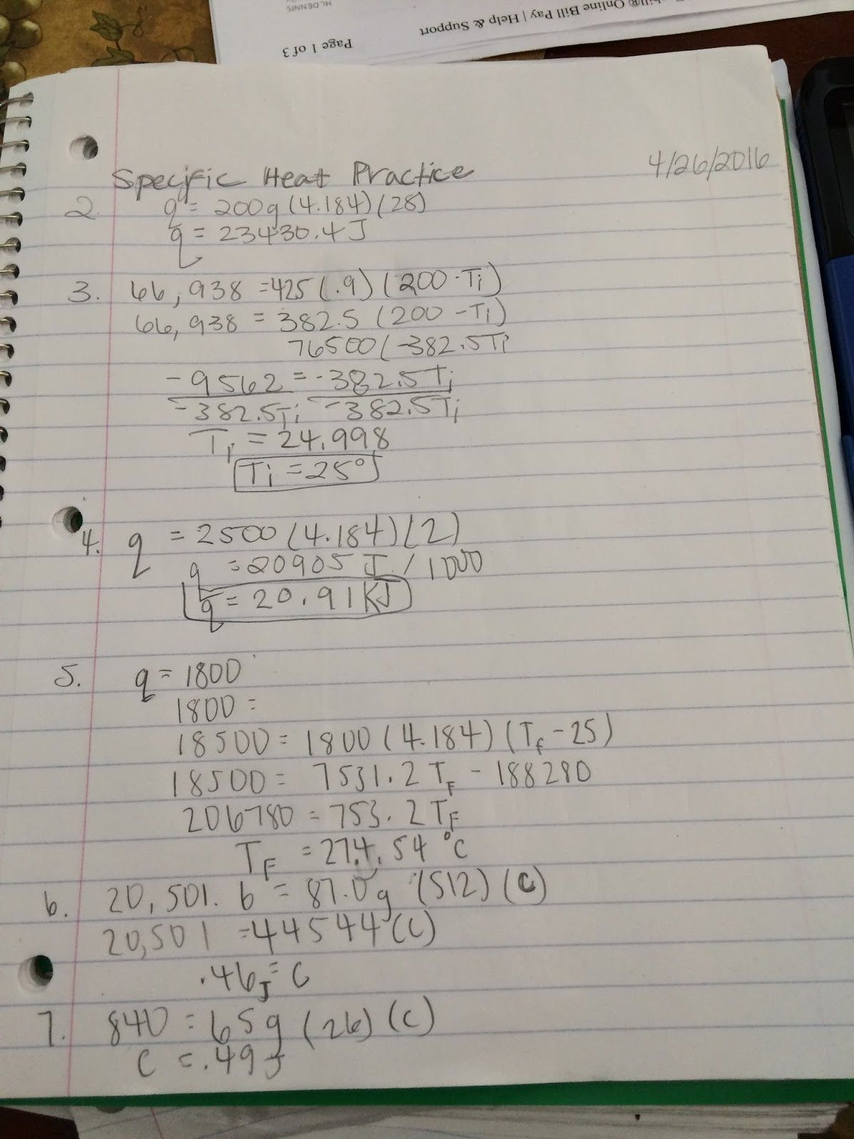Accomplished Specific Heat Calculations Worksheet