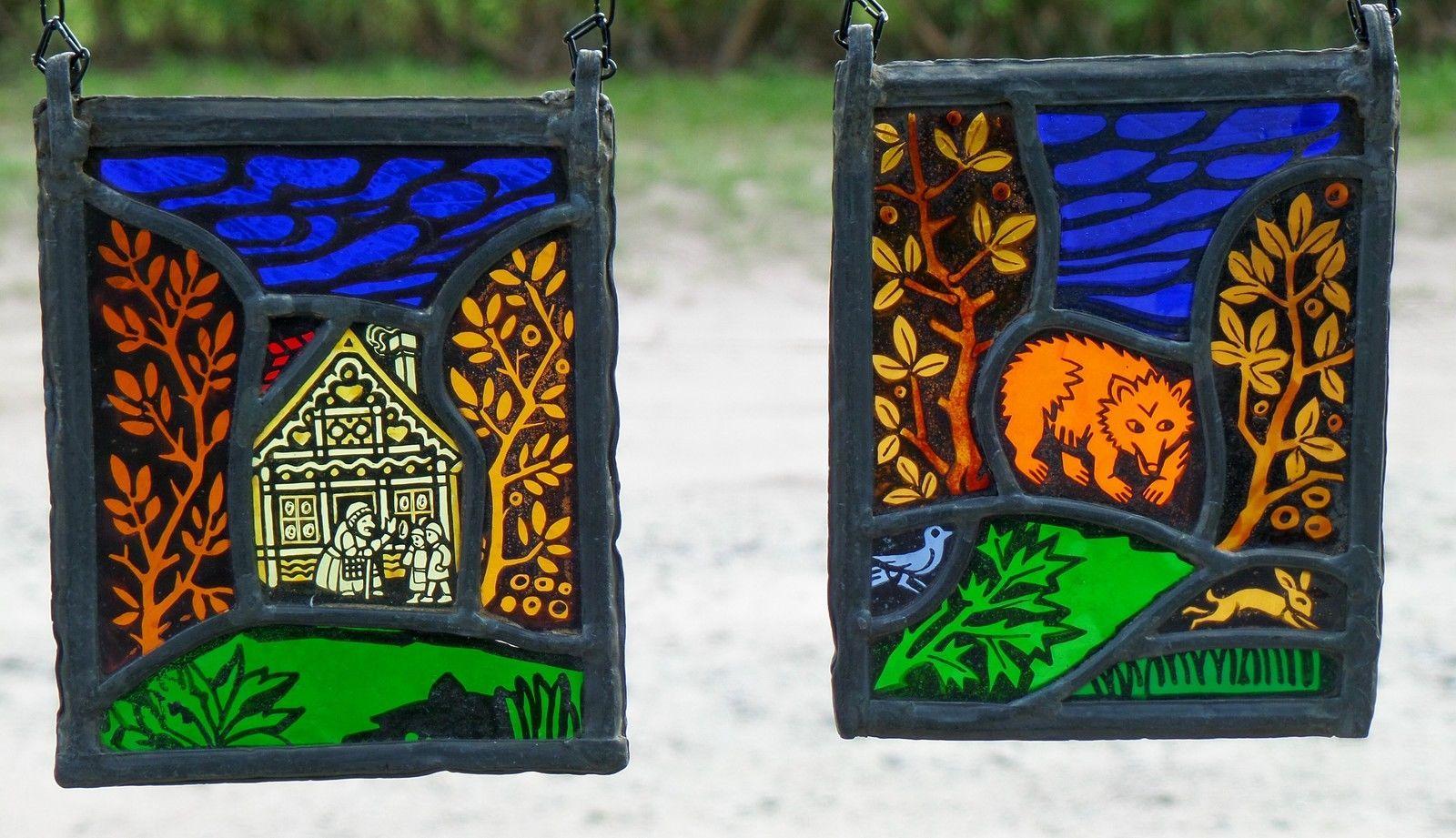 Bleiverglasung Fensterbild 2 St. alte Glasmalerei- Märchenmotive Echt Antikglas | eBay