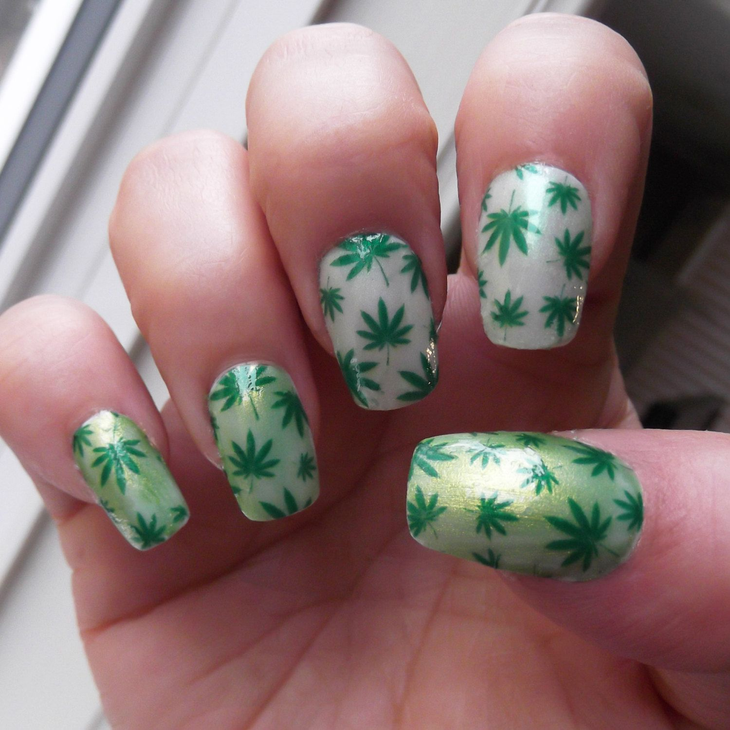 POT LEAF Nail Art Decals (PTF) Full Nail Wrap Decoration Green ...