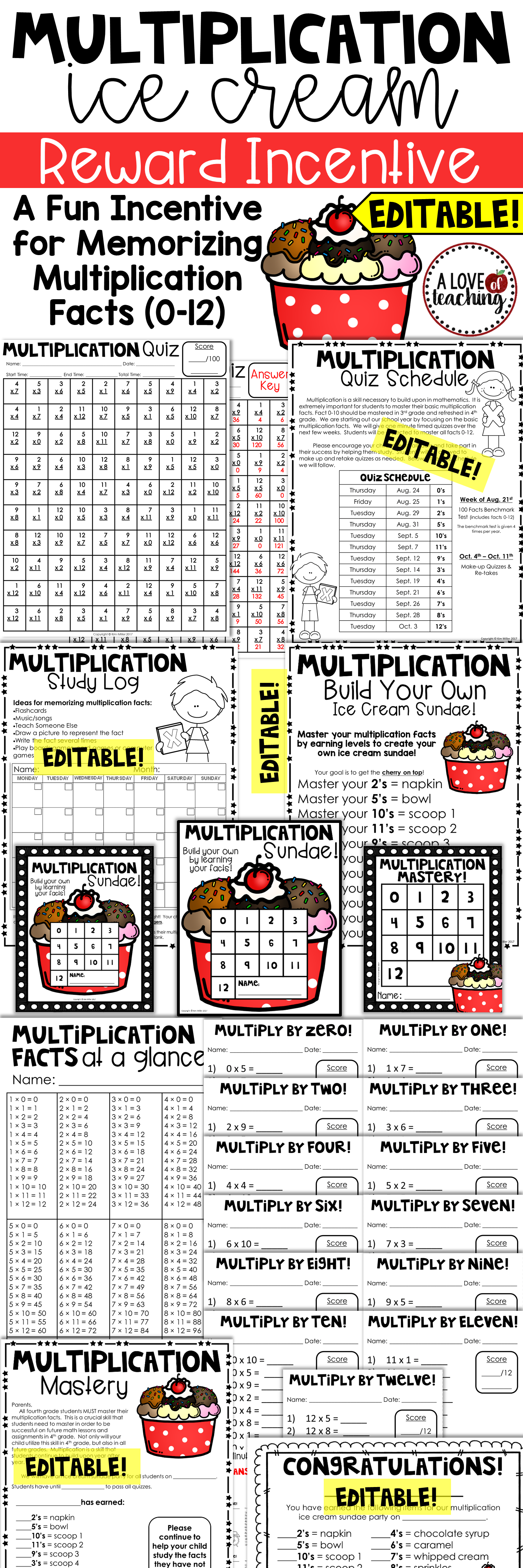 Multiplication Ice Cream Reward Incentive A Fun Incentive