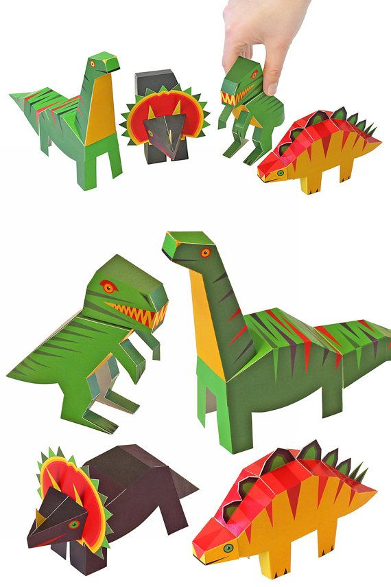 Dinosaurs Paper Toys DIY Paper Craft Kit 4 Dinosaurs door pukaca ... 0ad45ac1473