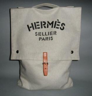 b342db8597c Authentic Hermes Herringbone Canvas Fourre Tout Grooming Bag ...