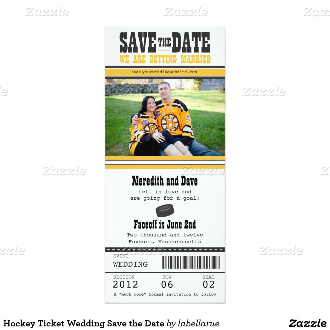 Hockey Ticket Wedding Save the Date Card | Hockey and Wedding