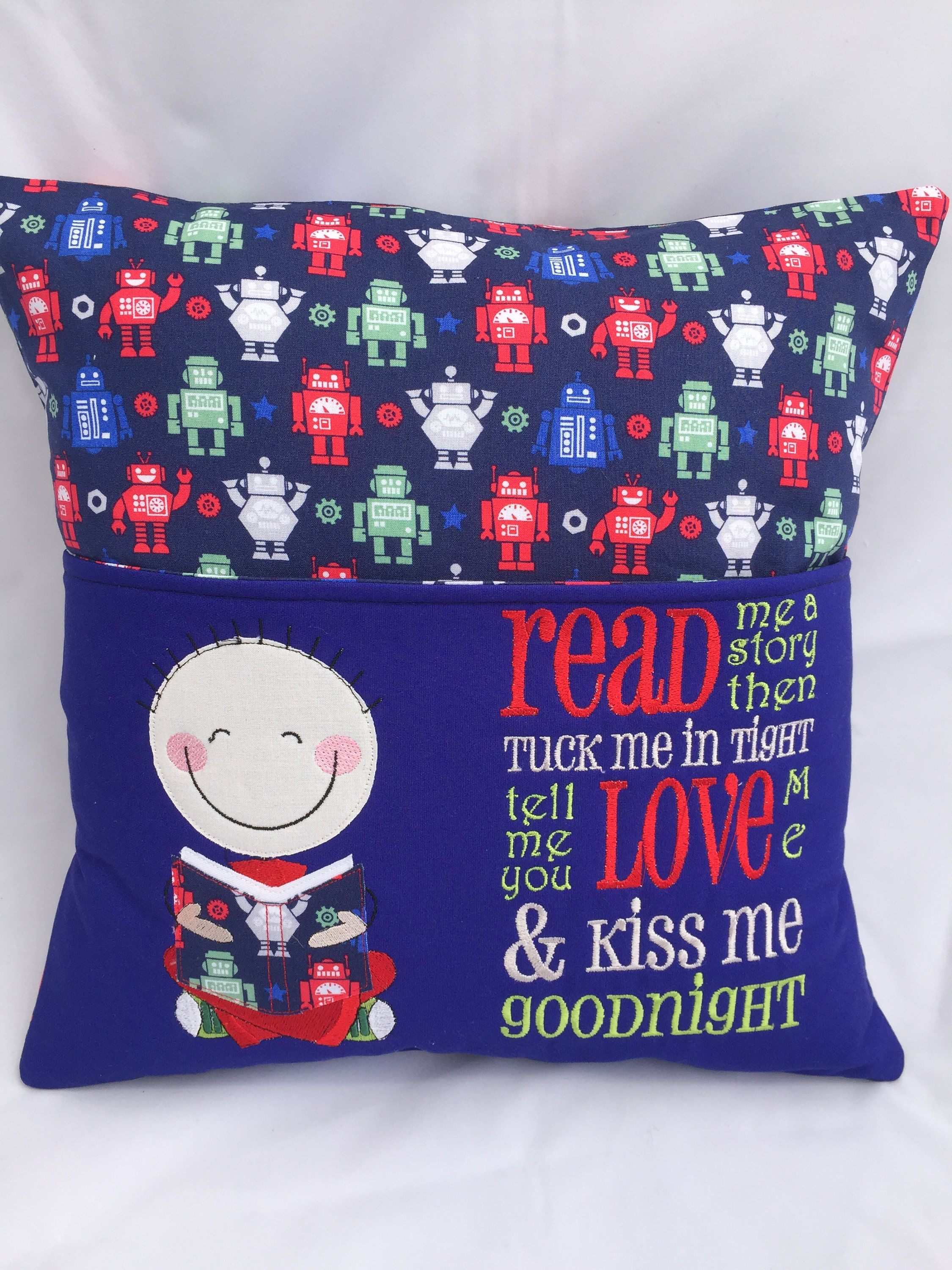 Pillow Reading pillow Book pocket Boys reading pocket pillow Blue Robots & How to Sew a Reading Pocket Pillow | Reading pillow Easy homemade ... pillowsntoast.com