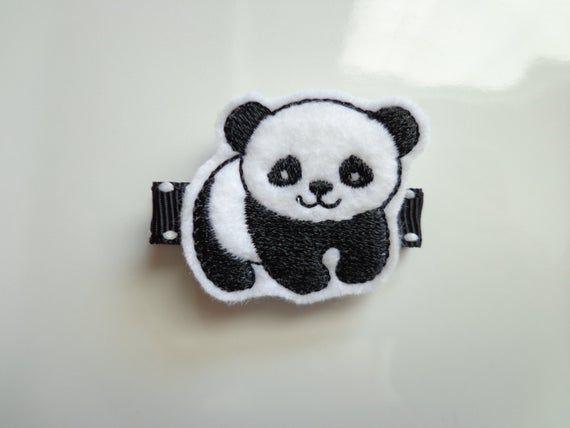 Felt Hair Clips - Felt Panda Bear Hair Clippie - Black And White Baby Panda Embroidered Boutique Cli #babypandabears
