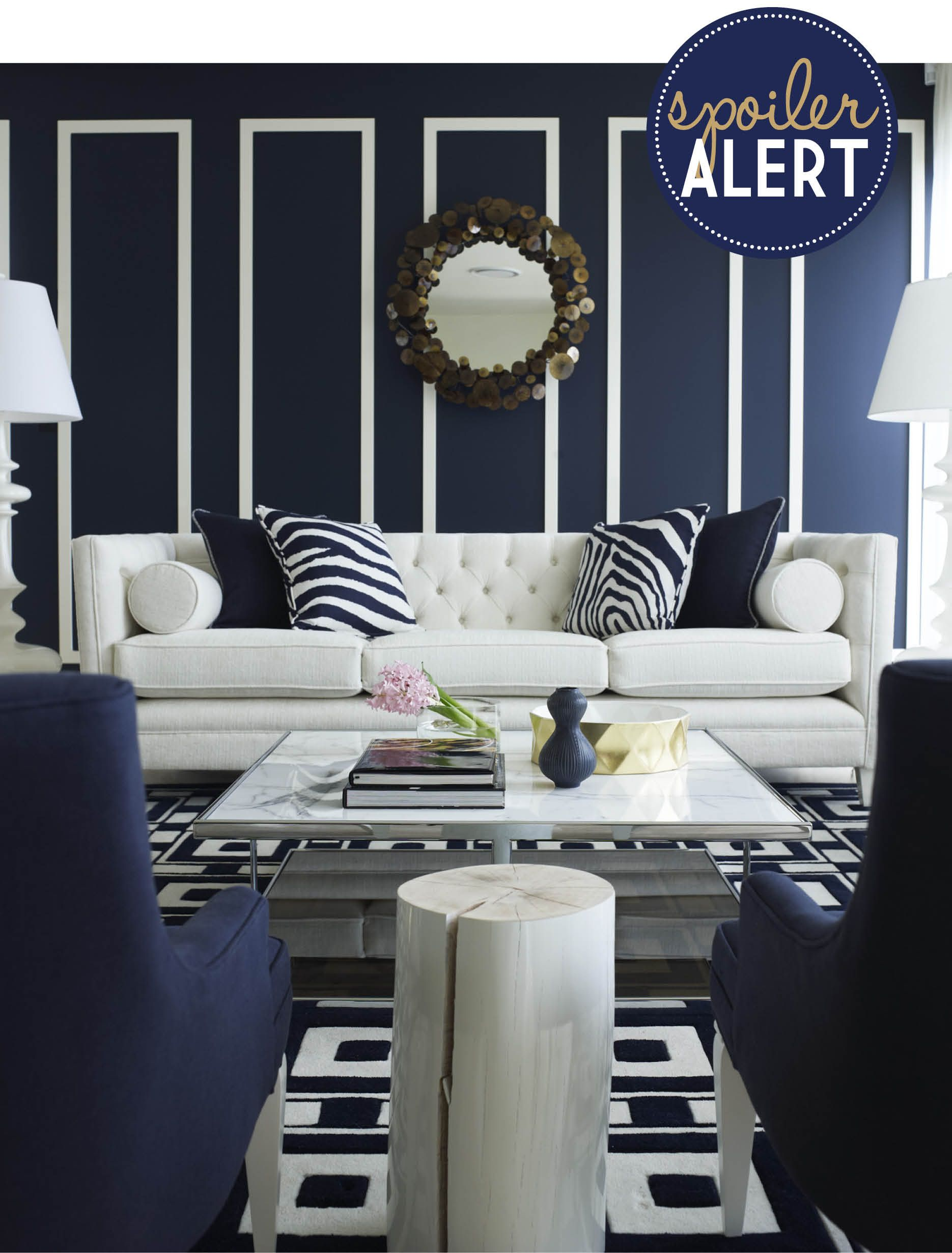 Ivory And Navy Living Rooms Design