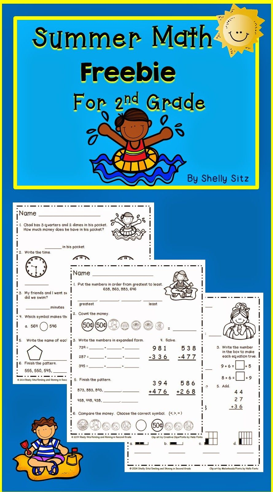 Summer Math Freebie (Smiling and Shining in Second Grade) | Math ...
