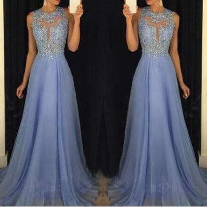 Carolina Blue Prom Dress Beaded Prom Dresslace Appliques Prom