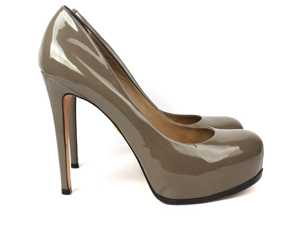 Pour la Victoire Taupe Patent Leather Hidden Platform Irina Pumps Size 9 $250 #PourlaVictoire #PumpsClassics
