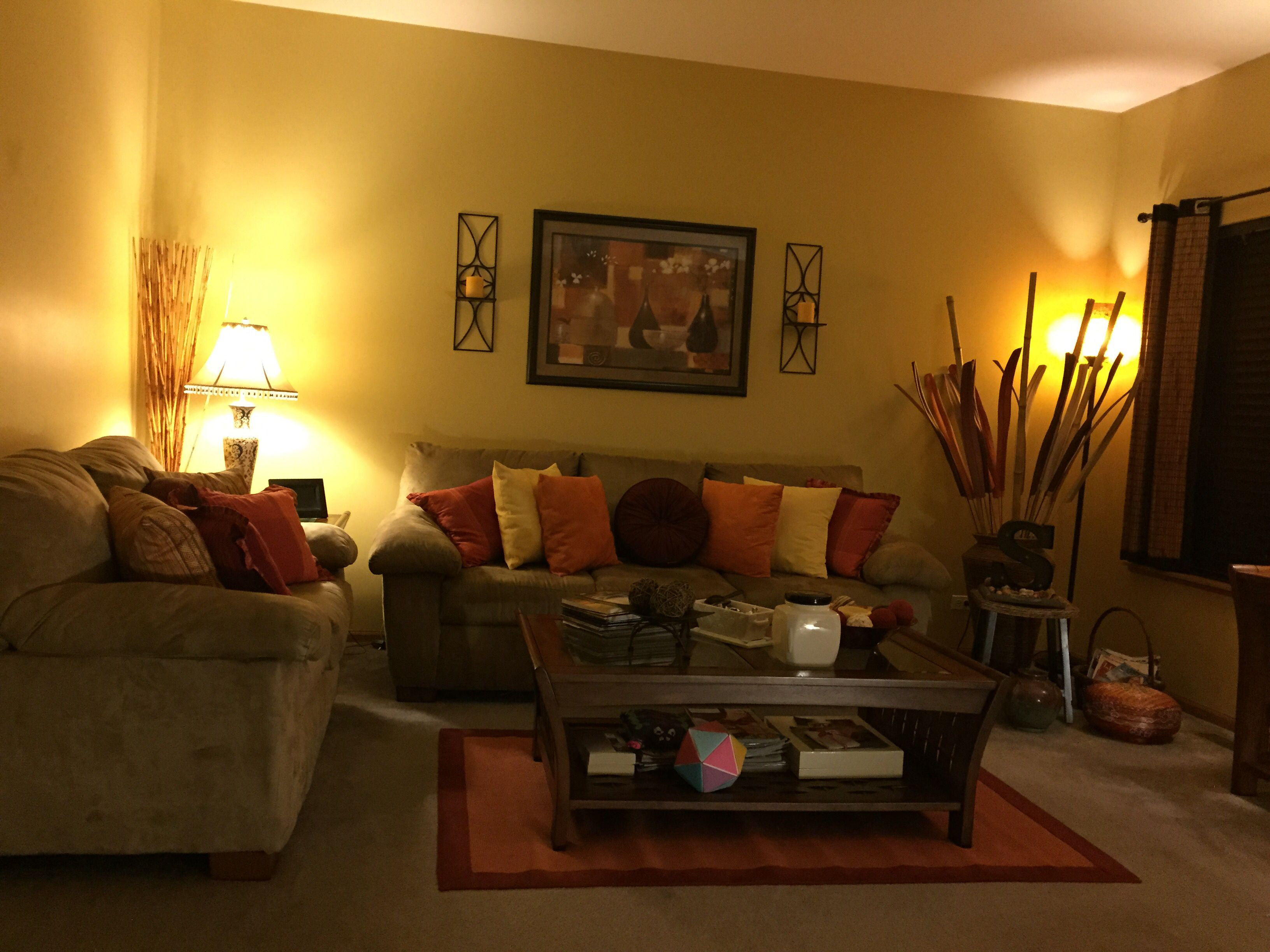 Orange Yellow And Red In Harmony My Cozy Living Room Brown