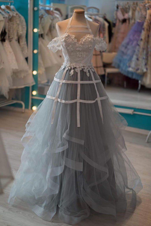 Dark blue tulle lace long prom dress dark blue bridesmaid dress