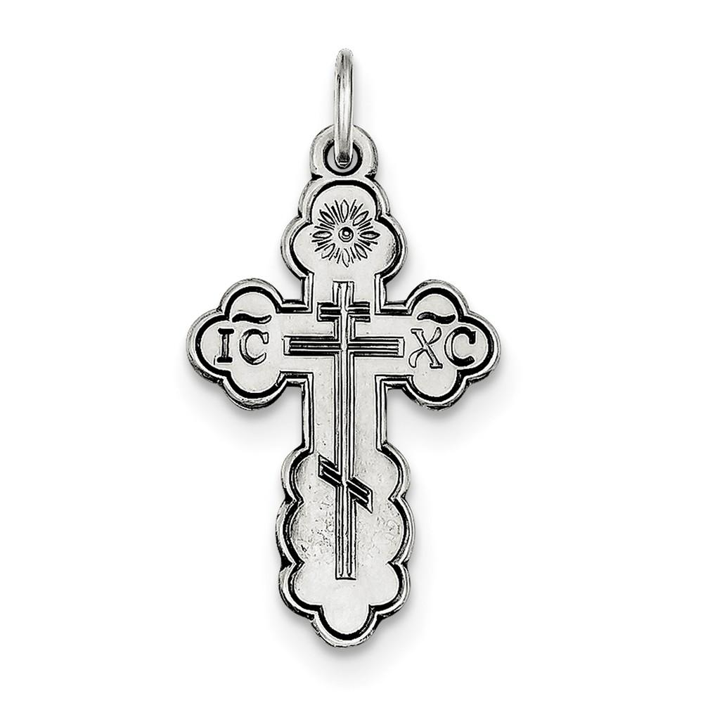 "Sterling Silver Orthodox St Olga Cross Necklace For Men Women On 24/"" Chain .925"